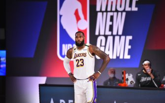 ORLANDO, FL - JULY 23: LeBron James #23 of the Los Angeles Lakers looks on during the game on July 23, 2020 at the Visa Athletic Center at ESPN Wide World of Sports Complex in Orlando, Florida. NOTE TO USER: User expressly acknowledges and agrees that, by downloading and or using this photograph, User is consenting to the terms and conditions of the Getty Images License Agreement. Mandatory Copyright Notice: Copyright 2020 NBAE (Photo by Jesse D. Garrabrant/NBAE via Getty Images)