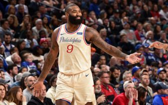PHILADELPHIA, PA - DECEMBER 7: Kyle O'Quinn #9 of the Philadelphia 76ers high fives a teammate during the game against the Cleveland Cavaliers on December 7, 2019 at the Wells Fargo Center in Philadelphia, Pennsylvania NOTE TO USER: User expressly acknowledges and agrees that, by downloading and/or using this Photograph, user is consenting to the terms and conditions of the Getty Images License Agreement. Mandatory Copyright Notice: Copyright 2019 NBAE (Photo by David Dow/NBAE via Getty Images)