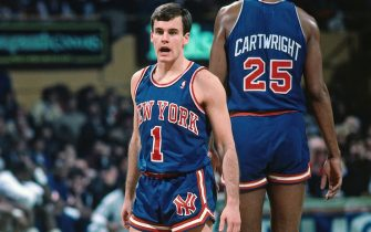 BOSTON - 1988: Billy Donovan #1 of the New York Knicks stands on the court during a game against against the Boston Celtics in 1988 at the Boston Garden in Boston, Massachusetts. NOTE TO USER: User expressly acknowledges and agrees that, by downloading and or using this photograph, User is consenting to the terms and conditions of the Getty Images License Agreement. Mandatory Copyright Notice: Copyright 1988 NBAE (Photo by Dick Raphael/NBAE via Getty Images)