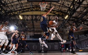 Orlando, FL - JULY 27:  Brooklyn Nets guard Caris LeVert #22 passes the ball against the Utah Jazz during a scrimmage on July 27, 2020 at HP Field House at ESPN Wide World of Sports in Orlando, Florida. NOTE TO USER: User expressly acknowledges and agrees that, by downloading and/or using this Photograph, user is consenting to the terms and conditions of the Getty Images License Agreement. Mandatory Copyright Notice: Copyright 2020 NBAE (Photo by Bill Baptist/NBAE via Getty Images)