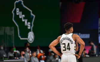 Orlando, FL - JULY 27: Giannis Antetokounmpo #34 of the Milwaukee Bucks looks on during the game against the New Orleans Pelicans during a scrimmage on July 27, 2020 at The Arena at ESPN Wide World of Sports in Orlando, Florida. NOTE TO USER: User expressly acknowledges and agrees that, by downloading and/or using this Photograph, user is consenting to the terms and conditions of the Getty Images License Agreement. Mandatory Copyright Notice: Copyright 2020 NBAE (Photo by Jesse D. Garrabrant/NBAE via Getty Images)
