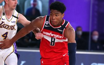 Orlando, FL - JULY 27: Rui Hachimura #8 of the Washington Wizards handles the ball against the Los Angeles Lakers during a scrimmage on July 27, 2020 at Visa Athletic Center at ESPN Wide World Of Sports Complex in Orlando, Florida. NOTE TO USER: User expressly acknowledges and agrees that, by downloading and/or using this Photograph, user is consenting to the terms and conditions of the Getty Images License Agreement. Mandatory Copyright Notice: Copyright 2020 NBAE (Photo by David Sherman/NBAE via Getty Images)