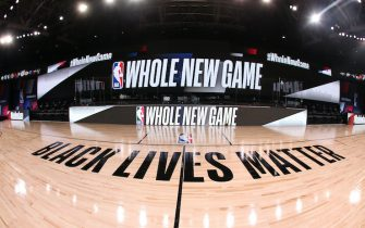 ORLANDO, FL - JULY 21: A general overall interior view of the court as part of the NBA Restart 2020 on July 21, 2020 at The Arena at ESPN Wide World of Sports in Orlando, Florida. NOTE TO USER: User expressly acknowledges and agrees that, by downloading and/or using this photograph, user is consenting to the terms and conditions of the Getty Images License Agreement.  Mandatory Copyright Notice: Copyright 2020 NBAE (Photo by David Sherman/NBAE via Getty Images)