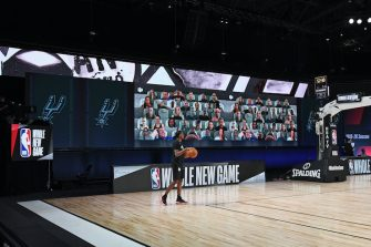 ORLANDO, FL - JULY 25: A wide angle view of the court and the fan boards before the Brooklyn Nets game against the San Antonio Spurs on July 25, 2020 in Orlando, Florida at The Arena at ESPN Wide World of Sports. NOTE TO USER: User expressly acknowledges and agrees that, by downloading and/or using this photograph, user is consenting to the terms and conditions of the Getty Images License Agreement. Mandatory Copyright Notice: Copyright 2020 NBAE (Photo by Garrett Ellwood/NBAE via Getty Images)