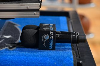 ORLANDO, FL - APRIL 21: A close-up view of a microphone before Game Four of Round One between the Toronto Raptors and the Orlando Magic during the 2019 NBA Playoffs on April 21, 2019 at Amway Center in Orlando, Florida. NOTE TO USER: User expressly acknowledges and agrees that, by downloading and/or using this photograph, user is consenting to the terms and conditions of the Getty Images License Agreement. Mandatory Copyright Notice: Copyright 2019 NBAE (Photo by Fernando Medina/NBAE via Getty Images)
