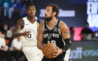 Orlando, FL - JULY 28: Marco Belinelli #18 of the San Antonio Spurs shoots the ball against the Indiana Pacers during a scrimmage on July 28, 2020 at The Arena at ESPN Wide World of Sports in Orlando, Florida. NOTE TO USER: User expressly acknowledges and agrees that, by downloading and/or using this Photograph, user is consenting to the terms and conditions of the Getty Images License Agreement. Mandatory Copyright Notice: Copyright 2020 NBAE (Photo by Garrett Ellwood/NBAE via Getty Images)