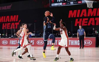 Orlando, FL - JULY 28: Dillon Brooks #24 of the Memphis Grizzlies drives to the basket during the game against the Miami Heat during a scrimmage on July 28, 2020 at The Visa Athletic Center at ESPN Wide World Of Sports Complex in Reunion, Florida. NOTE TO USER: User expressly acknowledges and agrees that, by downloading and/or using this Photograph, user is consenting to the terms and conditions of the Getty Images License Agreement. Mandatory Copyright Notice: Copyright 2020 NBAE (Photo by Joe Murphy/NBAE via Getty Images)