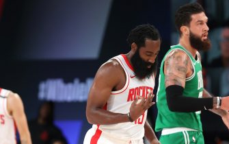 Orlando, FL - JULY 28: James Harden #13 of the Houston Rockets reacts to three point basket against the Boston Celtics on July 28, 2020 at The Arena at ESPN Wide World of Sports in Orlando, Florida. NOTE TO USER: User expressly acknowledges and agrees that, by downloading and/or using this Photograph, user is consenting to the terms and conditions of the Getty Images License Agreement. Mandatory Copyright Notice: Copyright 2020 NBAE (Photo by David Sherman/NBAE via Getty Images)
