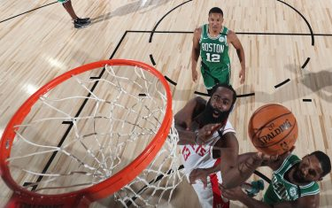 Orlando, FL - JULY 28: James Harden #13 of the Houston Rockets shoots the ball against the Boston Celtics on July 28, 2020 at The Arena at ESPN Wide World of Sports in Orlando, Florida. NOTE TO USER: User expressly acknowledges and agrees that, by downloading and/or using this Photograph, user is consenting to the terms and conditions of the Getty Images License Agreement. Mandatory Copyright Notice: Copyright 2020 NBAE (Photo by David Sherman/NBAE via Getty Images)