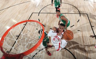 Orlando, FL - JULY 28: Russell Westbrook #0 of the Houston Rockets shoots the ball against the Boston Celtics on July 28, 2020 at The Arena at ESPN Wide World of Sports in Orlando, Florida. NOTE TO USER: User expressly acknowledges and agrees that, by downloading and/or using this Photograph, user is consenting to the terms and conditions of the Getty Images License Agreement. Mandatory Copyright Notice: Copyright 2020 NBAE (Photo by David Sherman/NBAE via Getty Images)