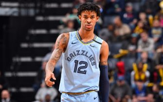 MEMPHIS, TN - JANUARY 20: Ja Morant #12 of the Memphis Grizzlies looks on during a game against the New Orleans Pelicans on January 20, 2020 at FedExForum in Memphis, Tennessee. NOTE TO USER: User expressly acknowledges and agrees that, by downloading and or using this photograph, User is consenting to the terms and conditions of the Getty Images License Agreement. Mandatory Copyright Notice: Copyright 2020 NBAE (Photo by Jesse D. Garrabrant/NBAE via Getty Images)