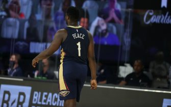 Orlando, FL - JULY 30: Zion Williamson #1 of the New Orleans Pelicans looks on during the game against the Utah Jazz on July 30, 2020 at HP Field House at ESPN Wide World of Sports in Orlando, Florida. NOTE TO USER: User expressly acknowledges and agrees that, by downloading and/or using this Photograph, user is consenting to the terms and conditions of the Getty Images License Agreement. Mandatory Copyright Notice: Copyright 2020 NBAE (Photo by David Sherman/NBAE via Getty Images)