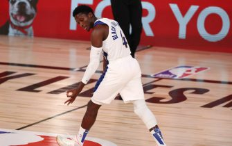 Aug 1, 2020; Lake Buena Vista, Florida, USA; Indiana Pacers guard Victor Oladipo (4) reacts after a play during the second quarter of a NBA basketball game against the Philadelphia 76ers at Visa Athletic Center. Mandatory Credit: Kim Klement-USA TODAY Sports