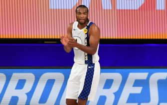 Orlando, FL - AUGUST 1: T.J. Warren #1 of the Indiana Pacers reacts during a game against the Philadelphia 76ers on August 1, 2020 at Visa Athletic Center at ESPN Wide World of Sports in Orlando, Florida. NOTE TO USER: User expressly acknowledges and agrees that, by downloading and/or using this Photograph, user is consenting to the terms and conditions of the Getty Images License Agreement. Mandatory Copyright Notice: Copyright 2020 NBAE (Photo by Jesse D. Garrabrant/NBAE via Getty Images)