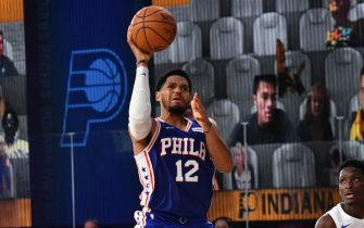 Orlando, FL - AUGUST 1: Tobias Harris #12 of the Philadelphia 76ers shoots the ball against the Indiana Pacers on August 1, 2020 at Visa Athletic Center at ESPN Wide World of Sports in Orlando, Florida. NOTE TO USER: User expressly acknowledges and agrees that, by downloading and/or using this Photograph, user is consenting to the terms and conditions of the Getty Images License Agreement. Mandatory Copyright Notice: Copyright 2020 NBAE (Photo by Jesse D. Garrabrant/NBAE via Getty Images)