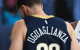 Orlando, FL - AUGUST 1: Nicolo Melli #20 of the New Orleans Pelicans looks on during the game on August 1, 2020 at HP Field House at ESPN Wide World of Sports in Orlando, Florida. NOTE TO USER: User expressly acknowledges and agrees that, by downloading and/or using this Photograph, user is consenting to the terms and conditions of the Getty Images License Agreement. Mandatory Copyright Notice: Copyright 2020 NBAE (Photo by Garrett Ellwood/NBAE via Getty Images)