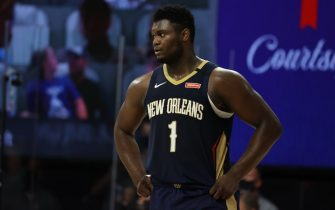 Orlando, FL - AUGUST 1: Zion Williamson #1 of the New Orleans Pelicans looks on against the LA Clippers on August 1, 2020 at HP Field House at ESPN Wide World of Sports in Orlando, Florida. NOTE TO USER: User expressly acknowledges and agrees that, by downloading and/or using this Photograph, user is consenting to the terms and conditions of the Getty Images License Agreement. Mandatory Copyright Notice: Copyright 2020 NBAE (Photo by David Sherman/NBAE via Getty Images)