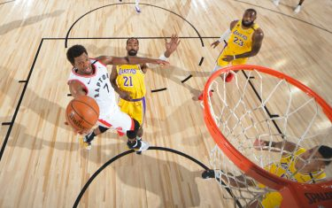 Orlando, FL - AUGUST 1: Kyle Lowry #7 of the Toronto Raptors shoots the ball against the Los Angeles Lakers on August 1, 2020 at The Arena at ESPN Wide World of Sports in Orlando, Florida. NOTE TO USER: User expressly acknowledges and agrees that, by downloading and/or using this Photograph, user is consenting to the terms and conditions of the Getty Images License Agreement. Mandatory Copyright Notice: Copyright 2020 NBAE (Photo by Bill Baptist/NBAE via Getty Images)