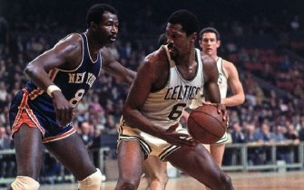 BOSTON - 1968:  Bill Russell #6 of Boston Celtics posts up against Walt Bellamy #8 of the New York Knicks during a game played in 1968 at the Boston Garden in Boston, Massachusetts. NOTE TO USER: User expressly acknowledges and agrees that, by downloading and or using this photograph, User is consenting to the terms and conditions of the Getty Images License Agreement. Mandatory Copyright Notice: Copyright 1968 NBAE (Photo by Dick Raphael/NBAE via Getty Images)