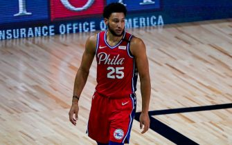 Philadelphia 76ers guard Ben Simmons (25) walks up the court during the first half of an NBA basketball game against the Washington Wizards Wednesday, Aug. 5, 2020 in Lake Buena Vista, Fla. (AP Photo/Ashley Landis)