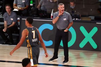 LAKE BUENA VISTA, FLORIDA - AUGUST 03: Head Coach Billy Donovan of the Oklahoma City Thunder yells to his players in the first half against the Denver Nuggets at The Arena at ESPN Wide World Of Sports Complex on August 3, 2020 in Lake Buena Vista, Florida. NOTE TO USER: User expressly acknowledges and agrees that, by downloading and or using this photograph, User is consenting to the terms and conditions of the Getty Images License Agreement.  (Photo by Kim Klement-Pool/Getty Images)