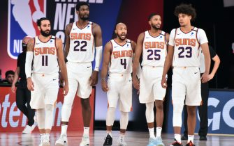 Orlando, FL - AUGUST 8: The Phoenix Suns look on during the game against the Miami Heat on August 8, 2020 at Visa Athletic Center at ESPN Wide World of Sports in Orlando, Florida. NOTE TO USER: User expressly acknowledges and agrees that, by downloading and/or using this Photograph, user is consenting to the terms and conditions of the Getty Images License Agreement. Mandatory Copyright Notice: Copyright 2020 NBAE (Photo by David Dow/NBAE via Getty Images)