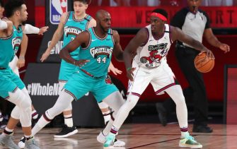 Orlando, FL - AUGUST 9: Pascal Siakam #43 of the Toronto Raptors handles the ball during the game against the Memphis Grizzlies on August 9, 2020 at The Visa Athletic Center at ESPN Wide World Of Sports Complex in Reunion, Florida. NOTE TO USER: User expressly acknowledges and agrees that, by downloading and/or using this Photograph, user is consenting to the terms and conditions of the Getty Images License Agreement. Mandatory Copyright Notice: Copyright 2020 NBAE (Photo by Joe Murphy/NBAE via Getty Images)