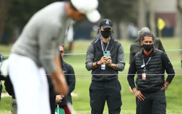 SAN FRANCISCO, CALIFORNIA - AUGUST 09: NBA athlete Stephen Curry of the Golden State Warriors takes a photo as Collin Morikawa of the United States putts on the seventh green during the final round of the 2020 PGA Championship at TPC Harding Park on August 09, 2020 in San Francisco, California. (Photo by Ezra Shaw/Getty Images)