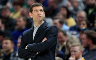 INDIANAPOLIS, INDIANA - MARCH 10:  Brad Stevens the head coach of the Boston Celtics watches the action against the Indiana Pacers at Bankers Life Fieldhouse on March 10, 2020 in Indianapolis, Indiana.    NOTE TO USER: User expressly acknowledges and agrees that, by downloading and or using this photograph, User is consenting to the terms and conditions of the Getty Images License Agreement. (Photo by Andy Lyons/Getty Images)