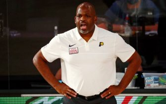 LAKE BUENA VISTA, FLORIDA - AUGUST 10: Head coach Nate McMillan of the Indiana Pacers reacts from the sideline during the first half against the Miami Heat at Visa Athletic Center at ESPN Wide World Of Sports Complex on August 10, 2020 in Lake Buena Vista, Florida. NOTE TO USER: User expressly acknowledges and agrees that, by downloading and or using this photograph, User is consenting to the terms and conditions of the Getty Images License Agreement. (Photo by Kim Klement - Pool/Getty Images)