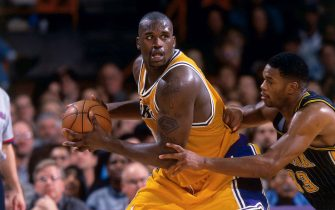 LOS ANGELES, CA - 1999: Shaquille O'Neal #34 of the Los Angeles Lakers handles the ball against the Indiana Pacers  during a game in 1999 at Staples Center in Los Angeles, California. NOTE TO USER: User expressly acknowledges and agrees that, by downloading and/or using this Photograph, user is consenting to the terms and conditions of the Getty Images License Agreement. Mandatory Copyright Notice: Copyright 1999 NBAE (Photo by Andrew D. Bernstein/NBAE via Getty Images)