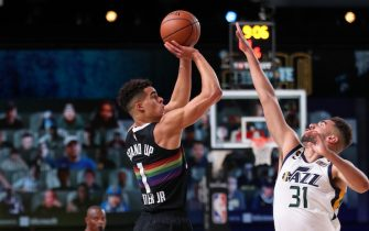 Orlando, FL - AUGUST 19: Michael Porter Jr. #1 of the Denver Nuggets shoots a 3-pointer against the Utah Jazz during Round One, Game Two of the NBA Playoffs on August 19, 2020 at The AdventHealth Arena in Orlando, Florida. NOTE TO USER: User expressly acknowledges and agrees that, by downloading and/or using this Photograph, user is consenting to the terms and conditions of the Getty Images License Agreement. Mandatory Copyright Notice: Copyright 2020 NBAE (Photo by Joe Murphy/NBAE via Getty Images)