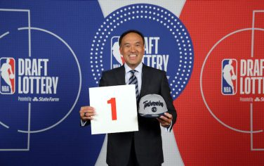 SECAUCUS, NJ - AUGUST 20: Deputy Commissioner of the NBA, Mark Tatum holds up the card of the Minnesota Timberwolves after they get the 1st overall pick in the NBA Draft during the 2020 NBA Draft Lottery on August 20, 2020 at the NBA Entertainment Studios in Secaucus, New Jersey. NOTE TO USER: User expressly acknowledges and agrees that, by downloading and/or using this photograph, user is consenting to the terms and conditions of the Getty Images License Agreement. Mandatory Copyright Notice: Copyright 2020 NBAE (Photo by Steven Freeman/NBAE via Getty Images)