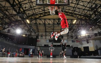 Orlando, FL - AUGUST 21: Terence Davis #0 of the Toronto Raptors dunks the ball during the game against the Brooklyn Nets during Round One, Game Three of the NBA Playoffs on August 21, 2020 at The Field House at ESPN Wide World Of Sports Complex in Orlando, Florida. NOTE TO USER: User expressly acknowledges and agrees that, by downloading and/or using this Photograph, user is consenting to the terms and conditions of the Getty Images License Agreement. Mandatory Copyright Notice: Copyright 2020 NBAE (Photo by David Sherman/NBAE via Getty Images)