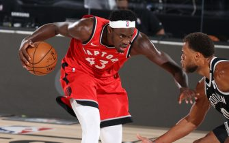 Orlando, FL - AUGUST 21: Pascal Siakam #43 of the Toronto Raptors handles the ball during the game against the Brooklyn Nets during Round One, Game Three of the NBA Playoffs on August 21, 2020 at The Field House at ESPN Wide World Of Sports Complex in Orlando, Florida. NOTE TO USER: User expressly acknowledges and agrees that, by downloading and/or using this Photograph, user is consenting to the terms and conditions of the Getty Images License Agreement. Mandatory Copyright Notice: Copyright 2020 NBAE (Photo by David Sherman/NBAE via Getty Images)