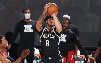 Orlando, FL - AUGUST 21: Tyler Johnson #8 of the Brooklyn Nets shoots a three point basket during the game against the Toronto Raptors during Round One, Game Three of the NBA Playoffs on August 21, 2020 at The Field House at ESPN Wide World Of Sports Complex in Orlando, Florida. NOTE TO USER: User expressly acknowledges and agrees that, by downloading and/or using this Photograph, user is consenting to the terms and conditions of the Getty Images License Agreement. Mandatory Copyright Notice: Copyright 2020 NBAE (Photo by David Sherman/NBAE via Getty Images)