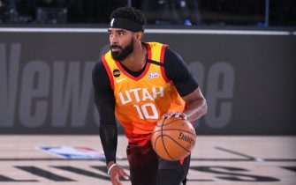 Orlando, FL - AUGUST 21: Mike Conley #10 of the Utah Jazz handles the ball during the game against the Denver Nuggets during Round One Game Three of the NBA Playoffs on August 21, 2020 at The AdventHealth Arena at ESPN Wide World Of Sports Complex in Orlando, Florida. NOTE TO USER: User expressly acknowledges and agrees that, by downloading and/or using this Photograph, user is consenting to the terms and conditions of the Getty Images License Agreement. Mandatory Copyright Notice: Copyright 2020 NBAE (Photo by Garrett Ellwood/NBAE via Getty Images)