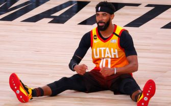 LAKE BUENA VISTA, FLORIDA - AUGUST 21: Mike Conley #10 of the Utah Jazz reacts after being fouled against the Denver Nuggets during the third quarter in Game Three of the Western Conference First Round during the 2020 NBA Playoffs at AdventHealth Arena at ESPN Wide World Of Sports Complex on August 21, 2020 in Lake Buena Vista, Florida. NOTE TO USER: User expressly acknowledges and agrees that, by downloading and or using this photograph, User is consenting to the terms and conditions of the Getty Images License Agreement. (Photo by Mike Ehrmann/Getty Images)