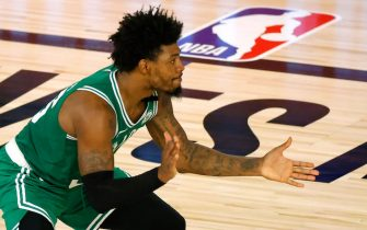 LAKE BUENA VISTA, FLORIDA - AUGUST 19: Marcus Smart #36 of the Boston Celtics reacts after a turnover against the Philadelphia 76ers during the second quarter in Game Two of the Eastern Conference First Round during the 2020 NBA Playoffs at The Field House at ESPN Wide World Of Sports Complex on August 19, 2020 in Lake Buena Vista, Florida. NOTE TO USER: User expressly acknowledges and agrees that, by downloading and or using this photograph, User is consenting to the terms and conditions of the Getty Images License Agreement. (Photo by Kevin C. Cox/Getty Images)