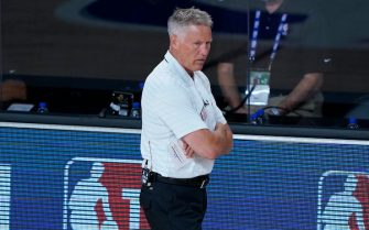 LAKE BUENA VISTA, FLORIDA - AUGUST 14: Head Coach Brett Brown of the Philadelphia 76ers stands on the sidelines during the second half of an NBA basketball game against the Houston Rockets at the ESPN Wide World Of Sports Complex on August 14, 2020 in Lake Buena Vista, Florida. NOTE TO USER: User expressly acknowledges and agrees that, by downloading and or using this photograph, User is consenting to the terms and conditions of the Getty Images License Agreement. (Photo by Ashley Landis-Pool/Getty Images)