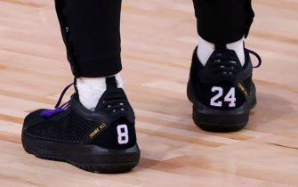 LAKE BUENA VISTA, FLORIDA - AUGUST 24: Shoes with #8 and #24 to honor Kobe Bryant are worn by Damian Lillard #0 of the Portland Trail Blazers against the Los Angeles Lakers in Game Four of the Western Conference First Round during the 2020 NBA Playoffs at AdventHealth Arena at ESPN Wide World Of Sports Complex on August 24, 2020 in Lake Buena Vista, Florida. NOTE TO USER: User expressly acknowledges and agrees that, by downloading and or using this photograph, User is consenting to the terms and conditions of the Getty Images License Agreement. (Photo by Kevin C. Cox/Getty Images)