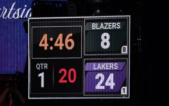 ORLANDO, FL - AUGUST 24: Scoreboard showing Kobe Bryants numbers during the game during Round One, Game Four of the NBA Playoffs on August 22, 2020 at AdventHealth Arena in Orlando, Florida. NOTE TO USER: User expressly acknowledges and agrees that, by downloading and/or using this Photograph, user is consenting to the terms and conditions of the Getty Images License Agreement. Mandatory Copyright Notice: Copyright 2020 NBAE (Photo by Jesse D. Garrabrant/NBAE via Getty Images)