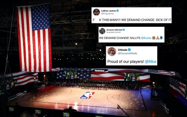 LAKE BUENA VISTA, FLORIDA - JULY 30: The America flag is seen as the Los Angeles Lakers and the LA Clippers wear Black Lives Matter shirt and kneel during the national anthem prior to the game against the LA Clippers at The Arena at ESPN Wide World Of Sports Complex on July 30, 2020 in Lake Buena Vista, Florida. NOTE TO USER: User expressly acknowledges and agrees that, by downloading and or using this photograph, User is consenting to the terms and conditions of the Getty Images License Agreement. (Photo by Mike Ehrmann/Getty Images)
