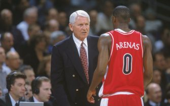 15 Feb 2001:  Head Coach Lute Olson  of the Arizona Wildcats talks to Gilbert Arenas #0 during the game against the University of California, Los Angeles (UCLA) Bruins at the Pauley Pavilion in Los Angeles, California.  The Bruins defeated the Wildcats 79-77.Mandatory Credit: Donald Miralle  /Allsport