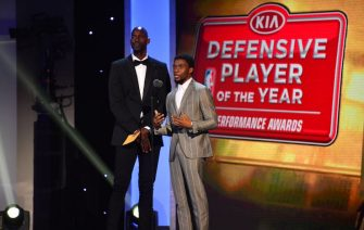 NEW YORK - JUNE 26: Kevin Garnett and Chadwick Boseman presents the award for Defensive Player of the year during the 2017 NBA Awards Show on June 26, 2017 at Basketball City in New York City. NOTE TO USER: User expressly acknowledges and agrees that, by downloading and/or using this photograph, user is consenting to the terms and conditions of the Getty Images License Agreement.  Mandatory Copyright Notice: Copyright 2017 NBAE (Photo by Jesse D. Garrabrant/NBAE via Getty Images)