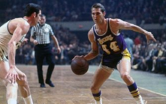 BOSTON - 1968:  Jerry West #44 of the Los Angeles Lakers makes a move to the basket against the Boston Celtics during a game played in 1968 at the Boston Garden in Boston, Massachusetts. NOTE TO USER: User expressly acknowledges and agrees that, by downloading and or using this photograph, User is consenting to the terms and conditions of the Getty Images License Agreement. Mandatory Copyright Notice: Copyright 1968 NBAE (Photo by Dick Raphael/NBAE via Getty Images)