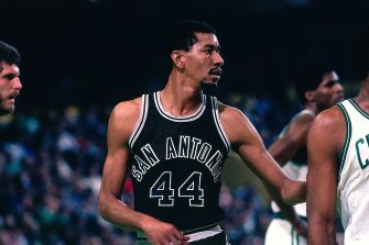 BOSTON - 1982:  George Gervin #44 of the San Antonio Spurs looks on against the Boston Celtics during a game played in 1982 at the Boston Garden in Boston, Massachusetts. NOTE TO USER: User expressly acknowledges and agrees that, by downloading and or using this photograph, User is consenting to the terms and conditions of the Getty Images License Agreement. Mandatory Copyright Notice: Copyright 1982 NBAE (Photo by Dick Raphael/NBAE via Getty Images)