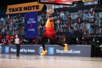 Orlando, FL - AUGUST 21: Donovan Mitchell #45 of the Utah Jazz dunks the ball against the Denver Nuggets during Round One, Game Three on August 21, 2020 in Orlando, Florida at The AdventHealth Arena. NOTE TO USER: User expressly acknowledges and agrees that, by downloading and/or using this Photograph, user is consenting to the terms and conditions of the Getty Images License Agreement. Mandatory Copyright Notice: Copyright 2020 NBAE (Photo by Joe Murphy/NBAE via Getty Images)