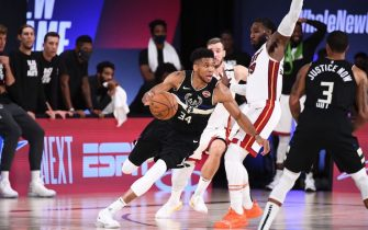 ORLANDO, FL - SEPTEMBER 2: Giannis Antetokounmpo #34 of the Milwaukee Bucks handles the ball during the game against the Miami Heat during Game Two of the Eastern Conference Semifinals of the NBA Playoffs on September 2, 2020 at The Field House at ESPN Wide World Of Sports Complex in Orlando, Florida. NOTE TO USER: User expressly acknowledges and agrees that, by downloading and/or using this Photograph, user is consenting to the terms and conditions of the Getty Images License Agreement. Mandatory Copyright Notice: Copyright 2020 NBAE (Photo by Garrett Ellwood/NBAE via Getty Images)