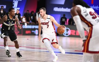 ORLANDO, FL - SEPTEMBER 2: Goran Dragic #7 of the Miami Heat handles the ball during the game against the Milwaukee Bucks during Game Two of the Eastern Conference Semifinals of the NBA Playoffs on September 2, 2020 at The Field House at ESPN Wide World Of Sports Complex in Orlando, Florida. NOTE TO USER: User expressly acknowledges and agrees that, by downloading and/or using this Photograph, user is consenting to the terms and conditions of the Getty Images License Agreement. Mandatory Copyright Notice: Copyright 2020 NBAE (Photo by Garrett Ellwood/NBAE via Getty Images)